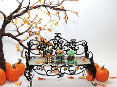 Dollhouse Scale Shelf Sitter Dolls (J. Nicholai) Tags: handmade handcrafted halloween ooak oneofakind orange original october dollhouse doll décor green zombie pumpkin polymerclay polymer purple scale beach fall autumn kato sculpey clay miniature sculpture cat black