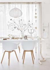 Branches in a Vase (Heath & the B.L.T. boys) Tags: christmas white neutral curtains garland tablescape lantern ladder ornaments twigs