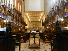 The Quire, Winchester Cathedral, Winchester, Sep 2016 (allanmaciver) Tags: choir stalls ornate winchester cathedral old traditional england bible open scripture wait allanmaciver