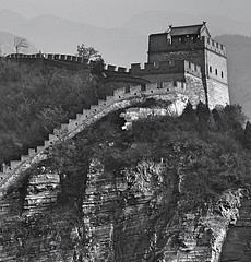 The Great Wall (Robert Borden) Tags: bw asia china beijing juyongguan greatwall landscape tower fort brick cliff