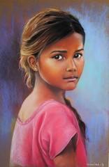 Jeune Indienne de Chotta Udapur (Monika-b) Tags: india girl regard eyes smile pink village gujarat portrait pastel painting ethnies