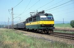 150 010  bei Most  27.05.92 (w. + h. brutzer) Tags: most eisenbahn eisenbahnen train railway elok tschechien webru analog nikon 150 slowakei zug cd zsr
