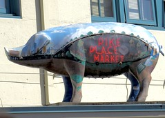 IMG_0741 (danimaniacs) Tags: seattle publicmarket sign pig animal