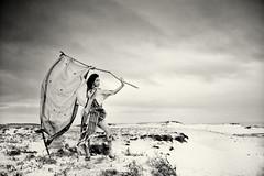 The edge of the world / necoco (HarQ Photography) Tags: portrait bw woman monochrome japan flag dune kimono concept bestportraitsaoi