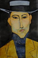 Modigliani, homage, by Marisa - DSC00796 (Dona Mincia) Tags: portrait man art face hat watercolor painting paper arte retrato inspired study tribute homage homem pintura homenagem modigliani chapu releitura aquarela inspirado rereading relecture