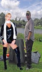 cuton weekend 007a (team stalker) Tags: woman lake sexy stockings panties fishing shiny boots blonde fishnets carp satin milf pvc sexylegs carpie