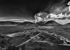 The Sea of Sand (Collin Key) Tags: bw indonesia landscape volcano java idn mountbromo seaofsand mountsemeru tenggercaldera mountbatok collinkey