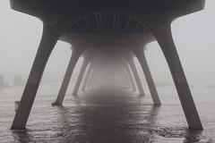 Into the Fog (Joey Wharton) Tags: bridge mist water misty fog architecture river virginia foggy richmond va rva