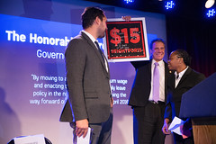 Governor Cuomo is Honored at the New York Communities for Change 7th Annual Gala (governorandrewcuomo) Tags: governorandrewmcuomo fightforfairpay communitiesforchange 15 minimumwage livingwage jobs economy mariocuomocampaignforeconomicjustice bellhouse award fightfor15 stage podium jonathanwestin shantelwalker smile warm friendly plaque holdingup brooklyn newyork usa
