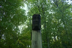 Face in the forest (flxnn) Tags: forest sculpture wood wooden outdoor art autumn ireland sligo 2016