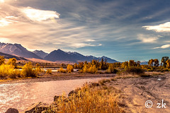 Yellow River ( ) Tags: landscape yellowstone river foliage golden red blue yellow colour fall autumn wyoming reflection grass marsh dirt road