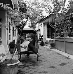 Nap (Purple Field) Tags: rolleiflex t tlr carl zeiss tessar 75mm f35 ilford delta iso400 bw monochrome analog film 6x6 120 square medium yogyakarta indonesia street alley walking tricycle      400               canoscan8800f stphotographia