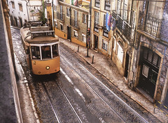 Lisbon City Tram (Den Gilbert) Tags: transport trains tracks trams lisbon portugal europe buildings photography landscapes roads cities capital colour vehicles public hdr