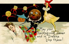 Thanksgiving Nightmare (Alan Mays) Tags: ephemera postcards greetingcards greetings cards paper printed thanksgiving holidays november turkeys birds poultry animals food pumpkins children boys beds blankets quilts sleeping dreams nightmares anthropomorphic anthropomorphism surreal strange unusual creepy humor humorous funny comic borders illustrations red brown yellow 1910 1910s antique old vintage typefaces type typography fonts hbg griggs hbgriggs artists illustrators postcardartists artistsigned le leubrie elkus leubrieelkus postcardpublishers leseries2263 series2263 2263 postcardseries
