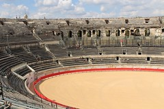 Nimes Roman Bowl (big_jeff_leo) Tags: nimes france roman temple arena building stone ancient architecture city facade fountain french empire old pilar column