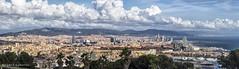 2237  Barcelona a vista de pjaro (Ricard Gabarrs) Tags: ciudad city barcelona panoramica nubes cielo cielos ricardgabarrus paisajes vistadepajaro ricgaba areo olympus pano