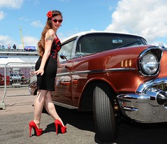 Holly_7340 (Fast an' Bulbous) Tags: long brunette hair people outdoor wiggle dress skirt girl woman hot sexy chick babe seamed silk stockings high heels red shoes legs beauty car vehicle automobile oldtimer classic sunglasses santapod dragstalgia model pose england summer hotty stilettos pinup