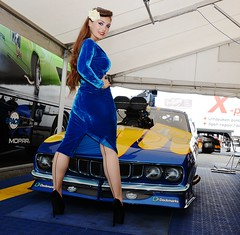 Holly_9666 (Fast an' Bulbous) Tags: promodified plymouth cuda v8 supercharged drag strip race track car vehicle automobile girl woman blur velvet dress wiggle long brunette hair hot sexy chick babe high heels stiletto shoes silk seamed stockings model pinup people classic oldtimer muscle