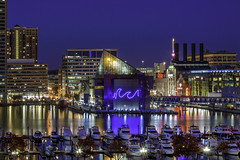 Baltimore's Inner Harbor (crabsandbeer (Kevin Moore)) Tags: night baltimore city cityscape evening innerharbor longexposure moon purple sky supermoon harbor harborplace nationalaquarium bluehour boats dock skyline le color colorful