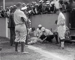 #Babe Ruth lying unconscious after running into a wall chasing a fly ball. He would regain consciousness 5 minutes later and get 2 more hits in the game. July 5, 1924. [902  722] #history #retro #vintage #dh #HistoryPorn http://ift.tt/2gWZeEC (Histolines) Tags: histolines history timeline retro vinatage babe ruth lying unconscious after running wall chasing fly ball he would regain consciousness 5 minutes later get 2 more hits game july 1924 902  722 vintage dh historyporn httpifttt2gwzeec