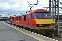 DB Schenker 90021 & 90029 (Will Swain) Tags: uk travel england west station train coast cheshire britain south main north transport platform 21st july rail railway trains db class line crewe 12 37 railways 90 dbs 90029 schenker mainline 2015 drs wcml 90021