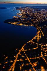 _D812340 : l'anse du Moulin Blanc (Brestitude) Tags: city blue mer night port marina harbor brittany bretagne aerial breizh bleu brest nuit ville finistère aérien rade moulinblanc relecqkerhuon brestitude ©laurentnevo2015