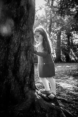 Robin (liz stowe) Tags: light sunlight girl monochrome childhood forest children blackwhite child backlit magical atmospheric chioldhood