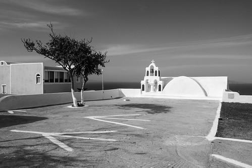 Oia church b/w 3