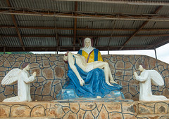 Benin, West Africa, Savalou, christ statue with angels (Eric Lafforgue) Tags: africa color art statue horizontal angel outdoors christ jesus nobody nopeople christian westafrica benin naive colourimage savalou benin3597
