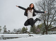 Snowful jump (Flickr_Rick) Tags: autumn woman snow cold fall girl outside jump jumping breanne jumpology