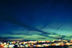 Synchronicity | 5pm (Carrie McGann) Tags: pink blue red sky orange blur green yellow clouds hearts lights interesting nikon aqua turquoise folsom cameratoss creativeblur 112115
