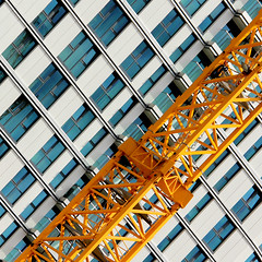 Crane 2 sq rotated (Andrea Kennard) Tags: sky glass metal architecture buildings reflections square crane structures highrise format offices