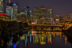Downtown Philadelphia And Schuylkill River (Bill Varney) Tags: philly philadelphia cityscape nightscape night lights architecture buildings water reflection outdoor schuylkill river north big city billvarney