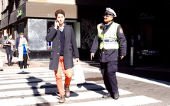 New York, 2016 (gregorywass) Tags: pedestrian crossing street police nypd talking cell phone crosswalk october 2016 manhattan new york city intersection