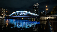 River City - Dojima Bridge (H.H. Mahal Alysheba) Tags: osaka city night urban landscape water river japan wide lumix gx7 lumixg 714mmf40