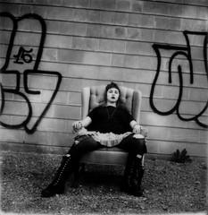 tough (buttercup caren) Tags: polaroid polaroidweek roidweek roidweek2016 impossibleproject blackandwhite slr680 tough jules graffiti brickwall