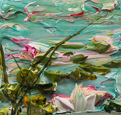 JUSTIN GAFFREY-WS12X12-2016-211 (Justin Gaffrey) Tags: waterscape water lillies waterlillies lilliepads reeds nature lake art artist painting acrylicpaint blue green justingaffrey 30a sowal florida
