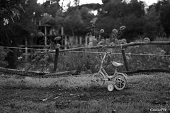 No kids arround (Giulio96) Tags: toy bicicle black white park loneliness object