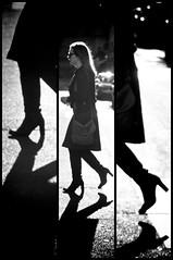 Seconde par seconde... (Calinore) Tags: france paris city ville woman femme triptyque noiretblanc blackandwhite saintgermaindesprs shoes chaussures