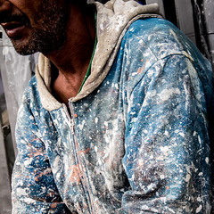 the painter (soundmoods) Tags: dots paint color pattern painting craft dirty spots blue white morrocco