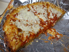 Half Of A Cheese Pizza. (dccradio) Tags: lumberton nc northcarolina robesoncounty food eat pizza frozenpizza slices supper lunch dinner snack cheese cheesepizza crust