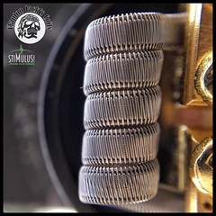Beast of a build right here !  _ Name of coil: Staple Staggerton  _ Specs: 12 ply of .3 KA1 ribbon, framed with 2 pcs of 30G N80, staggered clapton with 38G N80 - .18 Ohms single coil - coil built on my GOON RDA by @528_custom_vapes and @blueeyedgoon (Clapton_Jack) Tags: instagramapp square squareformat iphoneography uploaded:by=instagram coilporn coilart coils coilover coilsmith coilarchitect vape vapor vaping vapestagram vapenation vapeporn vapelyfe wireporn macro dripclub eliquid subohm ejuice vapefam clapton claptoncoil buildlyfe cloudchaser art photography vapephotography intricatevapebuilds vapepornbuild vapecommunity