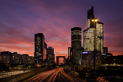 La Dfense (Didier Bonnette Photographies) Tags: ladfense cityscape cityoflights ciel sky skyscraper businessdistrict buildings lights lightstream bluehour quartierdaffaires