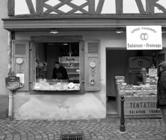 Salaison-Fromage (sfryers) Tags: cheese shop shopkeeper retail traditional architecture colmar alsace france smc pentaxda 15mm 14 limited monochrome