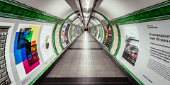 Down In The Tunnel (Sean Batten) Tags: embankment tube metro subway london england unitedkingdom gb underground londonunderground tunnel green city urban transport tfl nikon d800 1424 corridor