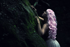 Illusion (Sus Blanco) Tags: 20161016cascada fairytale fantasy fairy wig pink forest darkness magical light fineart conceptual longhair beauty