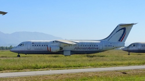 British Aerospace 146-300 c/n E3197 Albanian Airlines registration ZA-MEV stored at Tirana Airport, Albania