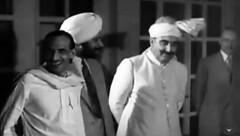 Sardar Abdul Rab Nishtar with Sardar Baldev Singh and Congress President Acharya Kripalani, June 3, 1947 (Doc Kazi) Tags: india pakistan history partition independence mountbatten nehru jinnah liaquat baldev kripalani radcliffe din mohammad munir judges burma