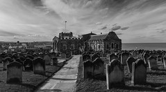 Saint Mary's (scarlet-pimp) Tags: riveresk bnw landscape scarborough mono gravestone town northyorkshire whitby yorkshire graveyard cloud churchofsaintmary dracula sky bramstoker silverefexpro2 blackandwhite riverersk monochrome