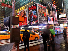 Waiting to Cross Times Square in the Rain (Robert S. Photography) Tags: rain rainydays people umbrellas waiting streetcrossing taxis billboards manhattan west42nd timessquare newyork fog wet nikon coolpix l340 iso80 color november 2016